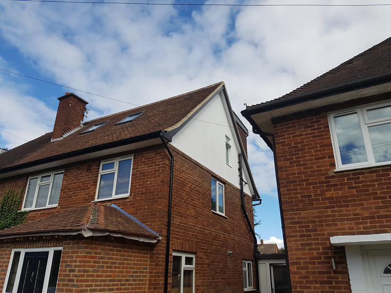 Loft conversion in bushey rendered smooth finish treated and painted